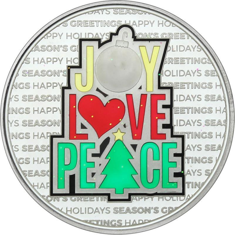 2021 1oz  Enameled Peace Love Joy Christmas Silver Round (XE-12)