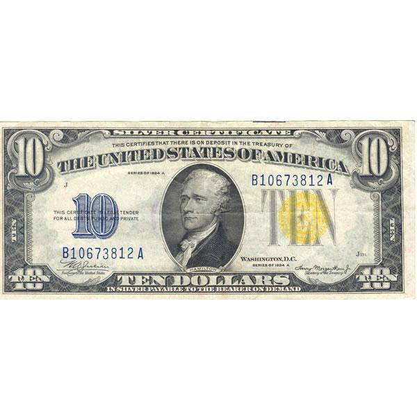 1934A $10 North Africa silver certificate AU