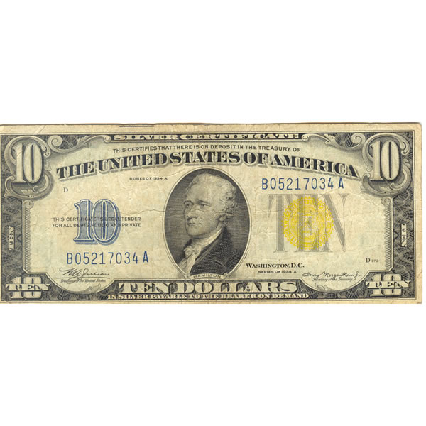 1934A $10 North Africa silver certificate F