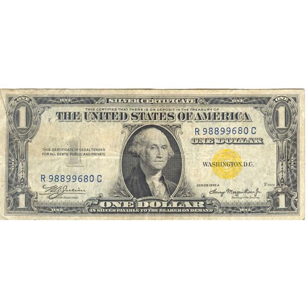 1935A $1 North Africa Silver Certificate F-VF