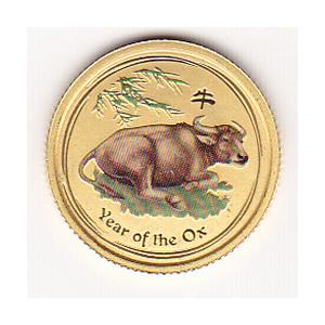 Australian Series II Lunar Gold Tenth Ounce 2009 Ox Colorized