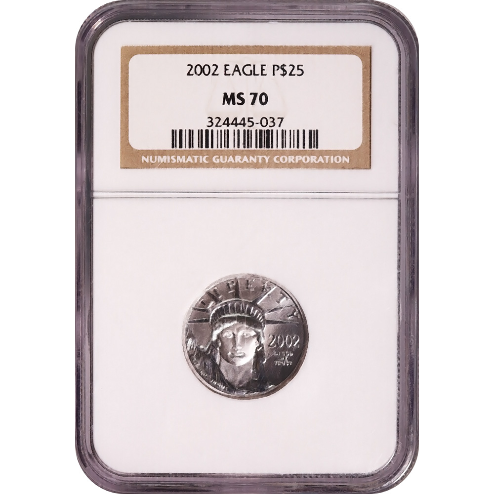 Certified Platinum American Eagle 2002 $25 Quarter Ounce MS70 NGC