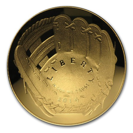 Gold $5 Commemorative 2014-W Baseball Hall of Fame Proof (Box & COA)