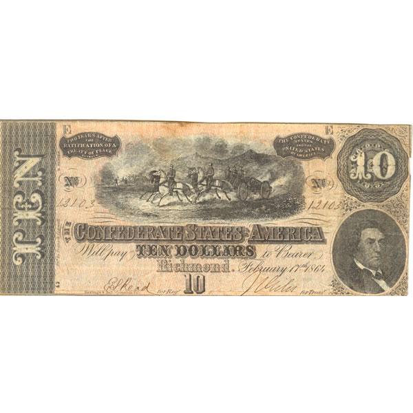 $10 1864 Confederate Note Richmond VA XF-AU