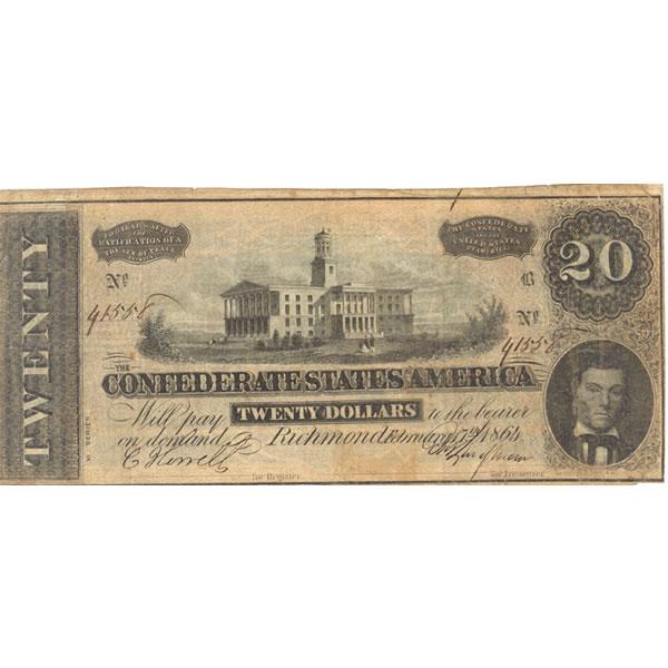 $20 1864 Confederate note Richmond VA F-VF