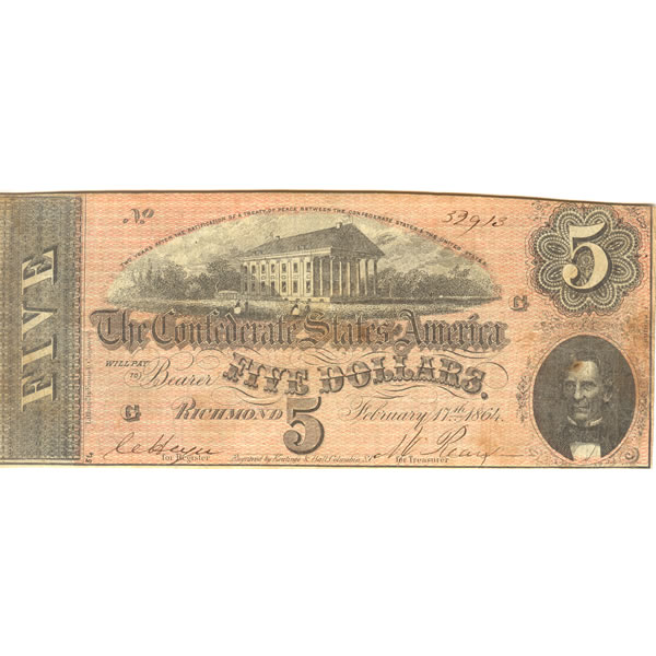 $5 1864 Confederate note Richmond VA F-VF