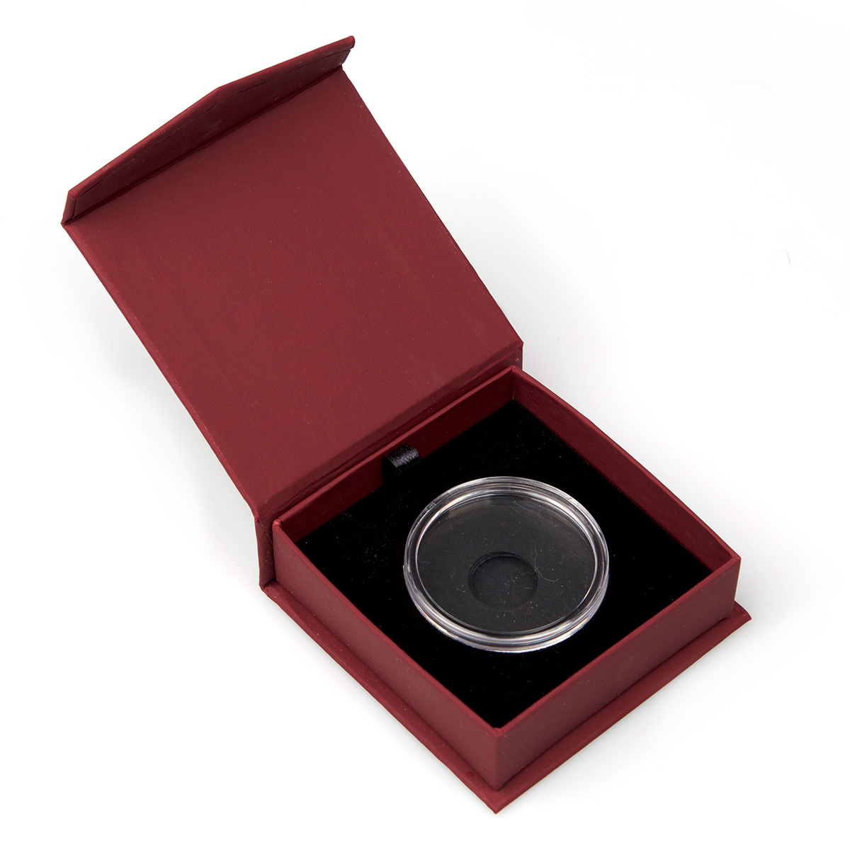 Silver Round Capsule and Premium Display Box Red