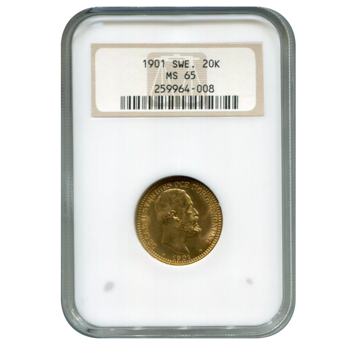 Sweden 20 kronor gold 1901 MS65 NGC