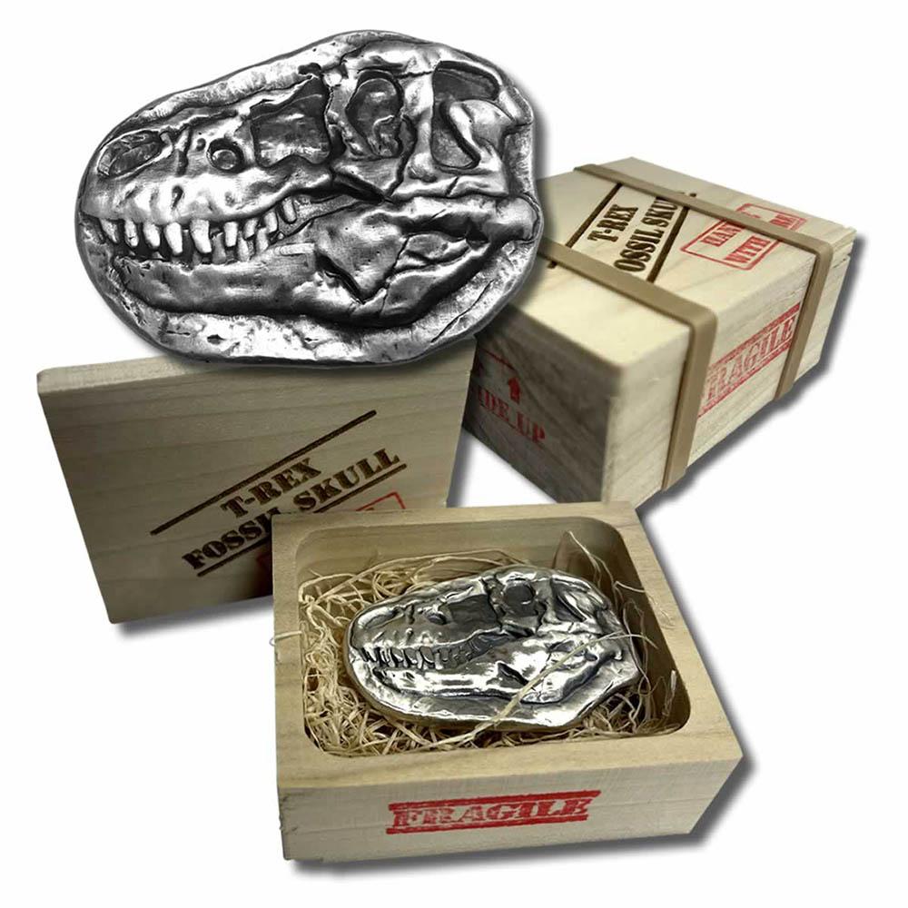 3 oz .999 Fine Silver - T-Rex Dinosaur Fossil Skull Bar