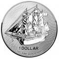Cook Islands $1 HMS Bounty 1 Ounce Silver 2018-2019 BU