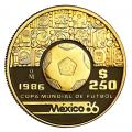 Mexico 250 Pesos Gold 1986 PF World Cup