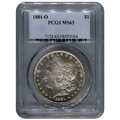 Certified Morgan Silver Dollar 1881-O MS63 PCGS