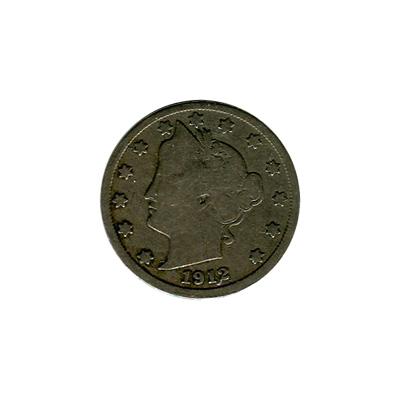 Liberty V Nickel 1912-S Very Good