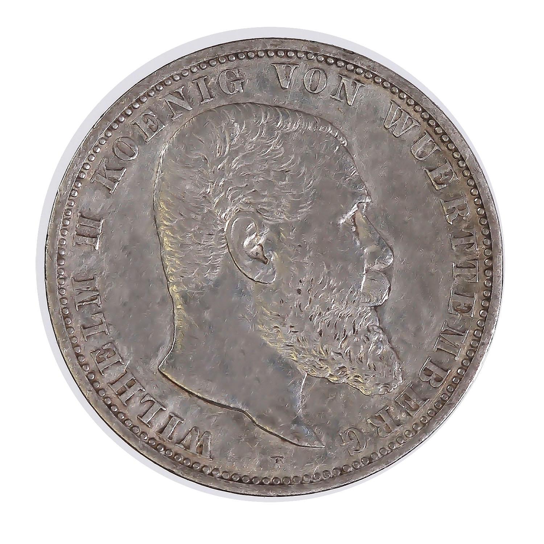 Germany Wurttemburg 5 Mark Silver 1892-1913 (KM632)