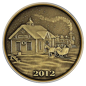 Christmas 2012 Bronze Round X-10 Train Depot (with ornament holder)