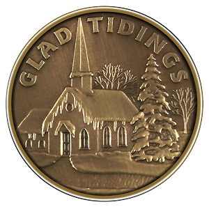 Christmas 2012 Bronze Round X-11 Church (with ornament holder)