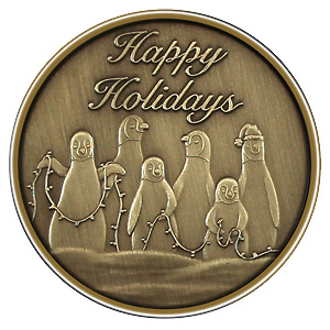 Christmas 2012 Bronze Round X-13 Penguins (with ornament holder)