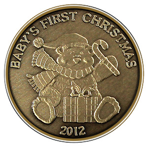 Christmas 2012 Bronze Round X-14 Babys First (with ornament holder)