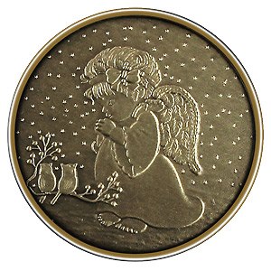 Christmas 2012 Bronze Round X-4 Child Angel (with ornament holder)