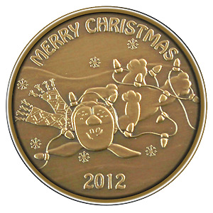 Christmas 2012 Bronze Round X-5 Christmas Puppy (with ornament holder)