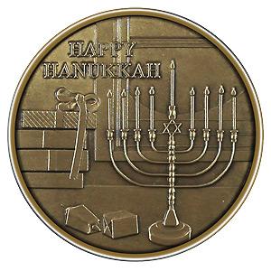 Christmas 2012 Bronze Round X-8 Hanukkah (with ornament holder)