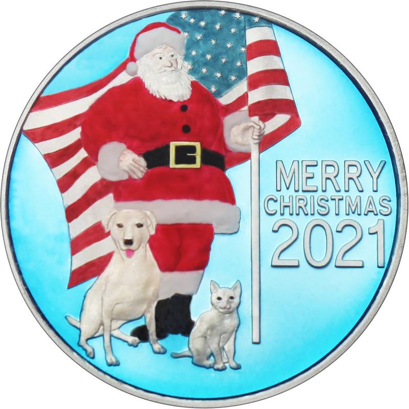 2021 Patriotic Santa Claus Christmas 1oz Silver Round Enameled (XE-7)